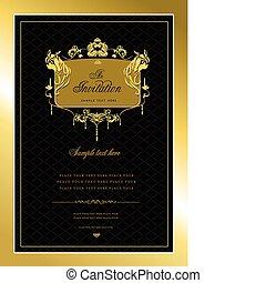 o, invitación, card., oro, boda, v