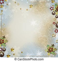 o, invitaciones, multicolor, estrellas, fondo, saludos, copos de nieve, chuchería