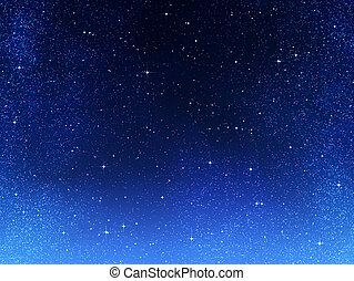 o, noche, espacio, cielo, estrellas