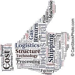 o, nube, texto, industrial, logística, conceptual, tagcloud, palabra