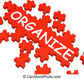 o, organizar, organizador, rompecabezas, exposiciones, arreglar