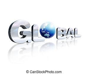 o., palabra, d, letras, chromed, globo terráqueo global, leve, 3, lugar, reflexivo, perspective., tierra, blanco, surface., visto