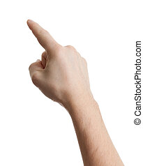 o, planchado, conmovedor, macho, white., caucásico, mano señalar con el dedo