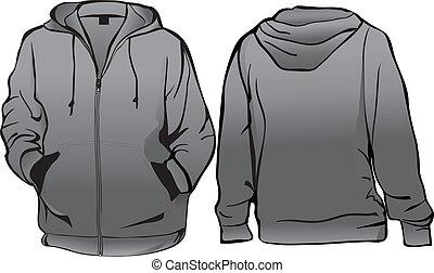 o, plantilla, chaqueta, cremallera, sweatshirt