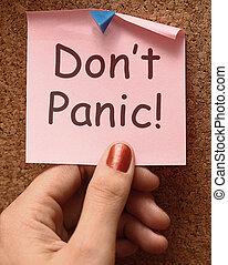 o, relajante, haga no, nota, no, pánico, entrar pánico, medios