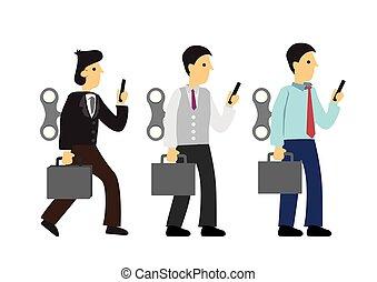 o, robot, hombres de negocios, adicción, hábito, winder, su, malo, concepto, tecnología, employee., back.