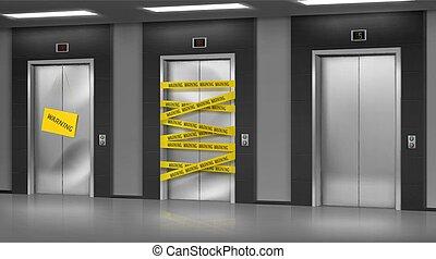 o, roto, maintenance., reparación, elevadores, cerrado