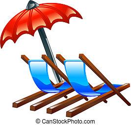 o, sillas de playa, cubierta, parasol