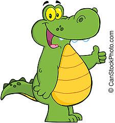 o, sonriente, caimán, cocodrilo