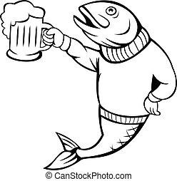 o, trucha, arriba, salmón, jarra, cerveza, negro, tenencia, blanco, llevando, cerveza inglesa, suéter, pez, caricatura