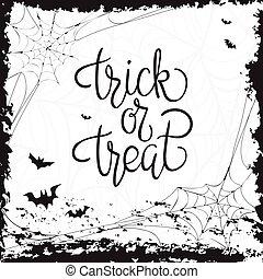 o, truco, treat., quote., halloween, cartel