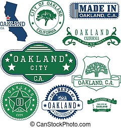 oakland, ca, señales, genérico, sellos, ciudad