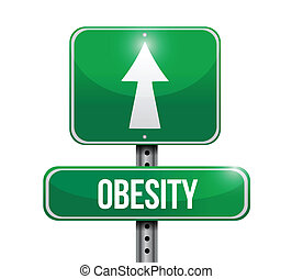 obesidad, diseño, camino, ilustración, señal