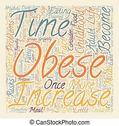 Obesidad infantil texto texto fondo concepto palabracloud