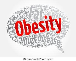 obesidad, nube, salud, concepto, palabra, mensaje, burbuja, plano de fondo, collage