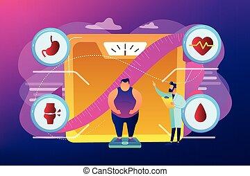 Obesidad problema de salud concepto ilustración vectorial.