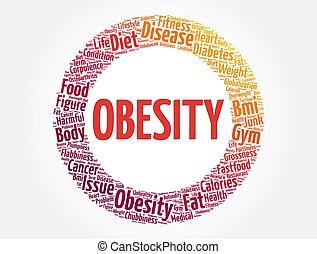 obesidad, salud, nube, concepto, palabra, plano de fondo, collage