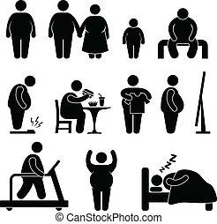 obesidad, sobrepeso, hombre gordo