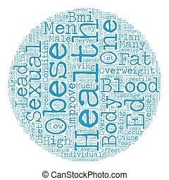 Obesidad y mal sexo masculino texto texto de fondo concepto de palabra