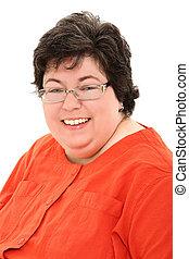 obeso, corporación mercantil de mujer, confiado, retrato, feliz