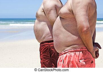 obeso, hombres, arriba, grasa, dos, cierre, playa