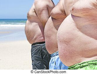obeso, hombres, tres, grasa, encima de cierre, playa