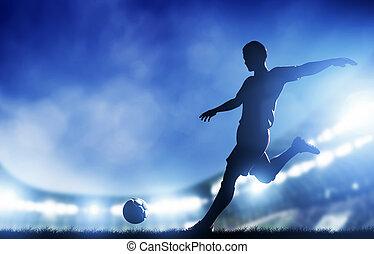 objetivo del fútbol, fútbol, jugador, match., disparando