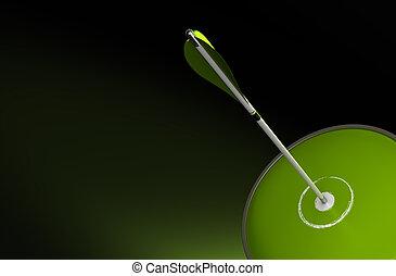 Objetivo y flecha sobre un fondo verde
