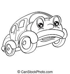 objeto, colorido, aislado, coche, ojos, blanco, vector, grande, plano de fondo, carácter, bosquejo, ilustración