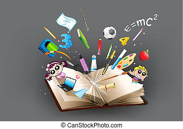 Objeto de educación saliendo del libro