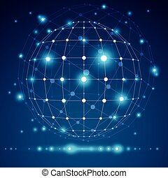 Objeto geométrico 3D, tecnología digital moderna y