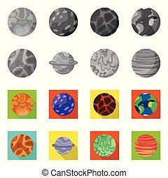 objeto, icono, icon., stock., vector, aislado, órbita, cosmos, colección, galaxia