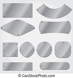 objetos, agrupado, metal, conjunto, placas