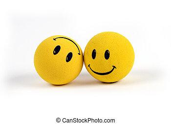 Objetos, caras sonrientes amarillas