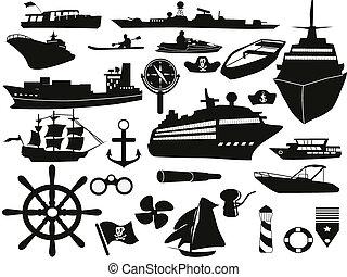 objetos, conjunto, navegación, icono