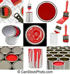 Objetos de pintura roja