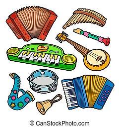 objetos, dibujado, niños, juguetes, conjunto, musical, caricatura, mano