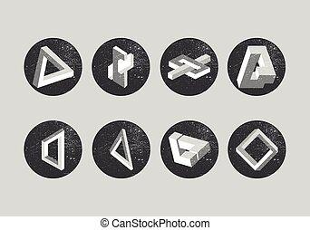Objetos imposibles. Formas geométricas, etiquetas. Triángulo Penrose e ilusiones ópticas.