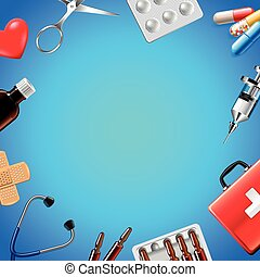 Objetos médicos en la vista superior de fondo azul