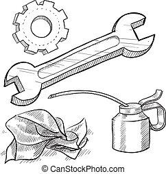 objetos, mecánico, bosquejo
