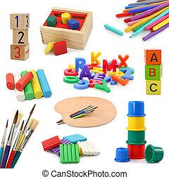 objetos, preescolar, colección