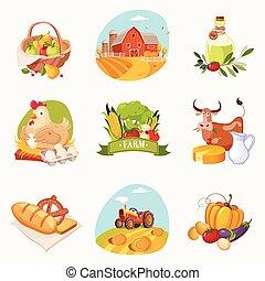 Objetos relacionados con granjas de etiquetas brillantes