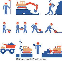 Obras terrestres y iconos de construcción de carreteras