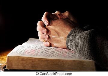 obreros rezando, encima, biblia santa