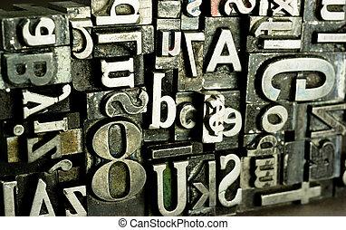 obsoleto, impresión, texto, metal, typeset, prensa, tipo, tipografía