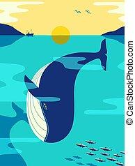 océano, azul, plano, vector, color ballena, minimalista
