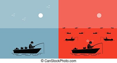 océano azul, strategy., contra, estrategia, rojo