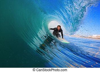 océano azul, tablista, onda