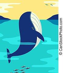 océano, ballena, vector, minimalista, azul, color, plano