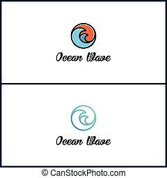 océano de ola, logotipo, diseño, moderno